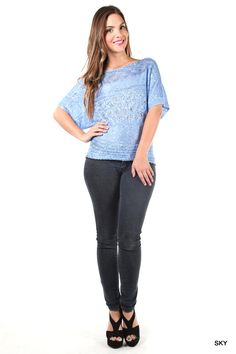 Clear Skies Sequins Round Neck Short Sleeve Top / Lainie Day