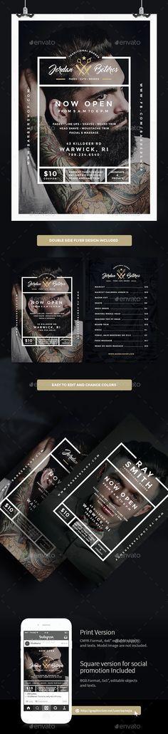 Barber Shop Flyer Template PSD #design Download: http://graphicriver.net/item/barber-shop-flyer/14546857?ref=ksioks