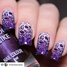 """#Repost @mdollasnails with @repostapp. ・・・ @colouralike 502 stamping with @blueberrystorepl Blueberry 01 plate Available…"""