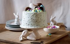 Speckled Vanilla Cake with Marshmallow Easter Egg Filling