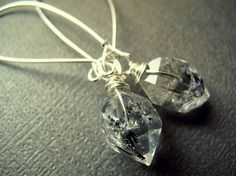Double Terminated Tibetan Earrings: Raw, wire wrapped Herkimer Diamond style quartz crystals dangle from long sterling silver wire. 2.75
