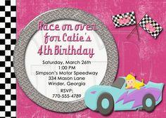 Girl Race Cars Lightning Invitation-Digital File