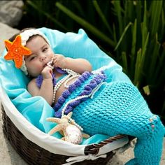 Little mermaid crochet outfit for infant photography