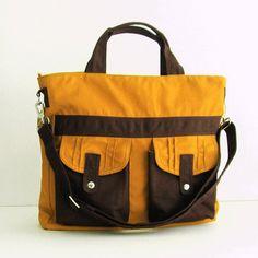 Sale - Mustard Canvas All purpose Bag - Shoulder bag, Tote, Diaper bag, Messenger, School bag - SUNNY. $44,00, via Etsy.