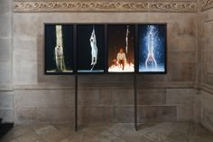 Martyrs (Earth, Air, Fire, Water) 2014 Installation at St. Paul's Cathedral by Bill Viola. High-Definition video polyptych on four vertical plasma displays Exhibition Display, Museum Exhibition, Bill Viola, Earth Air Fire Water, Appropriation Art, Video Installation, Venice Biennale, American Artists, Art World