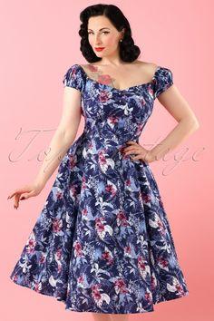 b1db7566bdaf Collectif Clothing ~ 50s Dolores Maui Hibiscus Doll Dress in Navy  #AvaElderwood Klasické Oblečení,