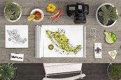 Map of Mexico - cartoon illustration by Ink & Brush Art on @creativemarket