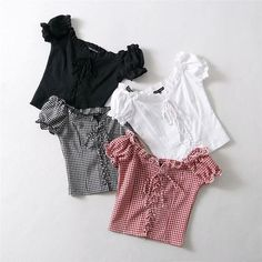 Women cotton grid Spliced Lace Hem shirt with V Neck Puff Sleeve shirt Summer Elegant slim Short Sleeve Blouse tops _ - AliExpress Mobile Version - Crop Top Outfits, Cute Casual Outfits, Pretty Outfits, Summer Outfits, Teen Fashion Outfits, Girl Outfits, Womens Fashion, Mode Pastel, Mode Kawaii