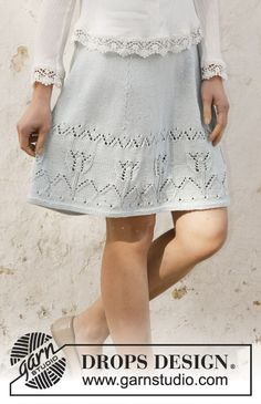 Spring Tulip - Knitted skirt in DROPS Muskat. The piece is worked with lace/tulip pattern. Sizes S - XXXL - Free pattern by DROPS Design Drops Design, Knit Skirt, Knit Dress, Lace Skirt, Baby Knitting Patterns, Free Knitting, Crochet Patterns, Magazine Drops, Tulip Skirt