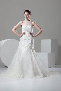 Appliques Jewel Court Train Organza Trumpet Low Back Wedding Dress #wedding#dress