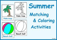 Summer Matching, Cut and Paste and Coloring Activities -Beach vocabulary. These are perfect activities for young learners and those with autism and special needs; great for learning the vocabulary through easy tasks.