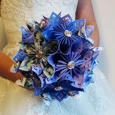 Bouquet de mariée origami champêtre