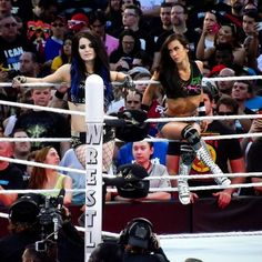 Paige & AJ Lee - Wrestlemania Oh! And in my opinion I think the girl in the audience to the left of Paige in the sleeveless top is kinda cute too :) Wwe Divas Paige, Paige Wwe, Nxt Divas, Wrestling Superstars, Wrestling Divas, Women's Wrestling, Wrestlemania 31, Aj Lee, Wwe Wrestlers