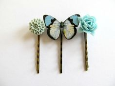 Butterfly and flower hair pins botanical floral by SeptemberWillow