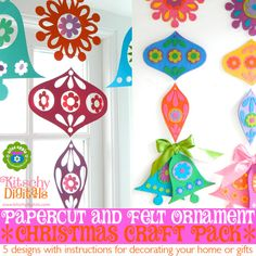 Papercut & Felt Holiday Ornament Printable