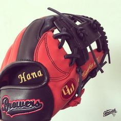 #Gloveworks x Tanaka - flying to Brazil! Red & Black #Hana #Tanaka #Baseball #Mitt #Glove #BaseballGlove #BaseballMitt #CustomGlove #Customization