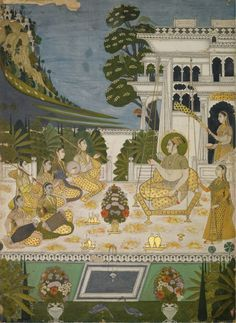 "Hindola Raga. Ragamala, Opaque watercolour and gold on paper, Deccan, Bidar, ca. 1725, ... The Ragamalas are visual depictions of musical modes and were universally popular as subjects for Indian miniature painting. Hindola means ""swing"" and the usual image of this mode is a prince (often Lord Krishna, with or without consort) seated on a swing with female attendants and musicians. It is meant to be sung in the morning and is connected with spring. ..."