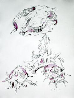 Susanne Haun - Art - Ink - Drawing  Der Erde preis gegeben - 65 x 50 cm - Tusche auf Bütten (c) Zeichnung von Susanne Haun