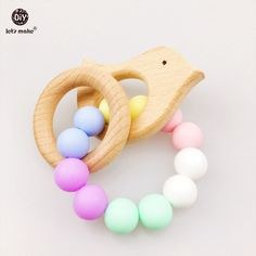 Let's make Baby Nursing Bracelet Food Grade Silicone Teether Wooden Bird DIY Jewelry  Sensory Baby Teether