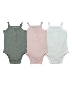 Take a look at this Cloud & Pink Three-Piece Organic Camisole Bodysuit Set - Infant today!