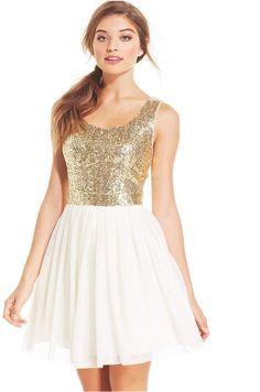 B Darlin Juniors' Sequin Pleated A-Line Dress