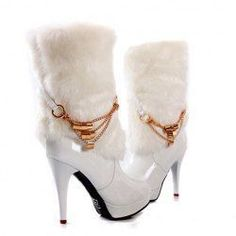 3a0b1fca3320  37.97 New Arrival Elegant and Stunning Style Faux Fur and Chain  Embellished High-Heeled Boots