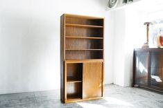 Vintage Modern Oak Cabinet Bookcase, c. 1970s