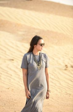 maxi dress in Dubai desert
