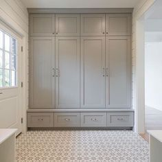 Dorian Gray cabinets and cement tiles! # barrier # cement tiles, Dorian Gray cabinets and cement tiles! Entryway Closet, Hallway Storage, Bathroom Storage, Hallway Cabinet, Room Closet, Closet Storage, Built In Cabinets, Grey Cabinets, Cupboards