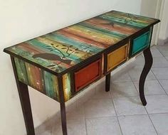 Chalk Paint Furniture, Hand Painted Furniture, Funky Furniture, Recycled Furniture, Handmade Furniture, Kids Furniture, Rustic Furniture, Furniture Makeover, Bedroom Furniture