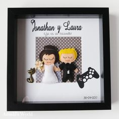 Novios personalizados en fieltro para Jonathan y Laura - Anuski´s World