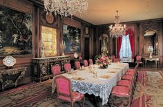 Hillwood Mansion ~ The Dining Room table is set with Marjorie Merriweather Post's services. This is Dina Merrill's childhood home.