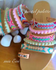 Pastel palette!!! Handmade leather sandals Pastel Palette, Greek Sandals, Handmade Leather, Leather Sandals, Fashion Beauty, Bangles, Jewelry, Style, Bracelets