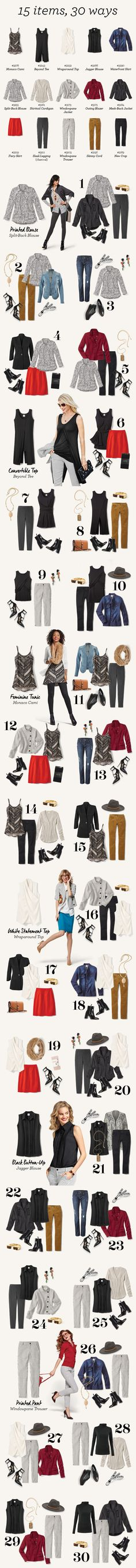 Check out this wardrobe capsule for 15 cabi fall items that you can wear 30 different ways!