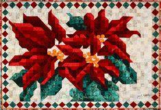 JaneLKakaley.etsy.com Poinsettia Mosaic Quilt by Jane L Kakaley