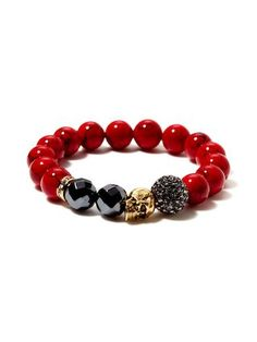New York Red Jade, Hematite, & Gold Skull Stretch Bracelet by Very Me at Gilt