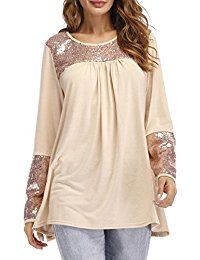 New Symptor Women's Crewneck Long Sleeve Blouse Sequin Patchwork Loose Swing Tunic Top online. Find the perfect Kate Kasin Tops-Tees from top store. Sku ZQMV44147AJMU53954