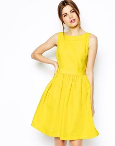 Ted Baker Prom Dress with Bow Back Detail in Yellow (Brightyellow) - Lyst