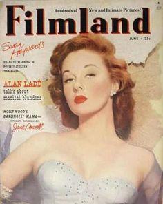 Susan Hayward on the cover of Filmland magazine, June 1952, USA.