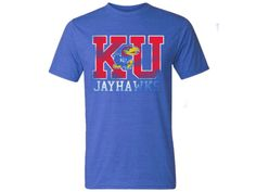 K Jayhawk U Block Distress Triblend Tee - Royal Heather