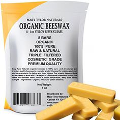 100% Organic Beeswax 8 x 1 oz Bars Made in the USA Hand Poured Premium Quality Cosmetic Grade Triple Filtered Beeswax Bars By Mary Tylor Naturals Great for DIY Lip Balms Body Creams Lotions Deodorants. 100% Pure & Organic, Made in the USA, Premium Quality Cosmetic Grade Triple Filtered Grade A pellets. Our Organic Yellow Beeswax has a mild natural sweet aroma and a golden yellow color. You will receive 8 - 1 oz bars Organic 100% Pure Triple filtered yellow beeswax 8 oz total. Great for DIY…