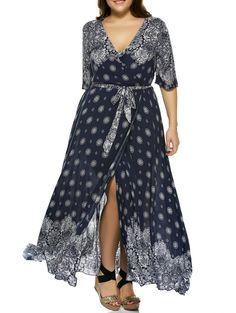 Oversized Plunge Neck Bandanna Print Bohemian Wrap Maxi Dress