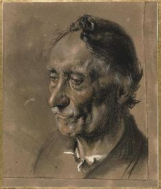 """""""Head of an Old Man"""", Drawing by Adolph Von Menzel (1815-1905, Poland)"""
