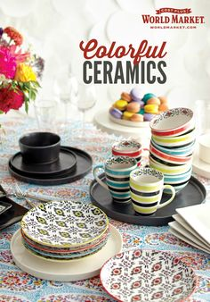 Get playful at the table with our new ceramics. Discover dazzling values on our dinner plates, dessert plates, serving sets and more.