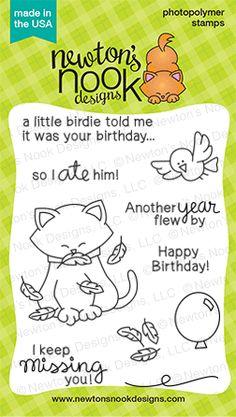 Newton's Birthday Flutter | 3 x 4 Cat Birthday stamp set by Newton's Nook Designs