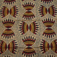 Tissus africains, Crème, tissu african rouge et orange 12 Yards est une création orginale de urbanstax sur DaWanda