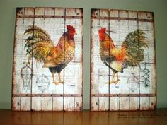 "47"" tall french country distressed wood red rooster panel/plaque 22-484"