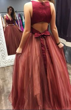 two piece long prom dress, 2018 burgundy prom dress, elegant v neck two piece burgundy long prom dress ball gown