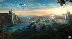 Space Fantasy, Fantasy City, Sci Fi Fantasy, Fantasy World, Futuristic City, Futuristic Architecture, Bg Design, Game Design, Sci Fi City