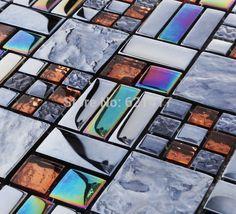 Cheap iridescente mattonelle di mosaico backsplash placca Symphony hmgm1098 autoadesivo della parete mattonelle di cucina piastrelle pavimento del bagno spedizione gratuita, Compro Qualità Mosaici direttamente da fornitori della Cina: Specifiche:No..:hmgm1098aMarca:HomerMateriale:vetroOriginale:cinaformato tessera:  48x48+23x23mmDimensioni d
